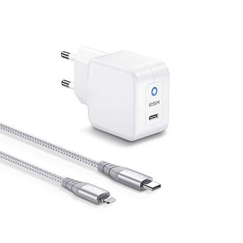 ESR Caricatore Veloce 20W Mini PD e Cavo Lightning da 1 m Compatibile con iPhone 13/13 Pro/13 mini/13 PRO Max/12/12 Pro/12 Mini/12 PRO Max/11/XR,USB Type-C Power Delivery con Cavo Certificato MFi