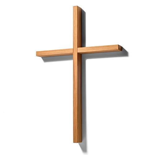 corpus delicti :: Holzkreuz modern und schlicht – Wandkreuz aus Eiche massiv (33 x 22 x 2,4 cm) – Kreuz für die Wand oder die Hand – Kruzifix für Puristen (77.H)