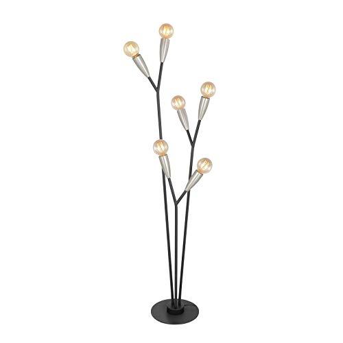 Lucande lampa podłogowa 6 -punktowa Carlea, styl nowoczesny, m. in. do salonu, jadalni, kolor czarny, metal, żarówka E27, A++
