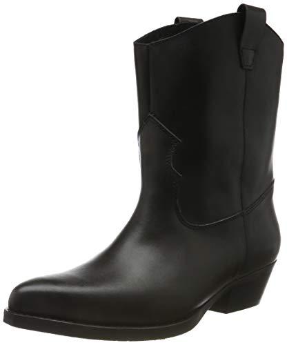 PIECES Damen PSHEART Leather Boot Cowboystiefel, Schwarz (Black Black), 37 EU