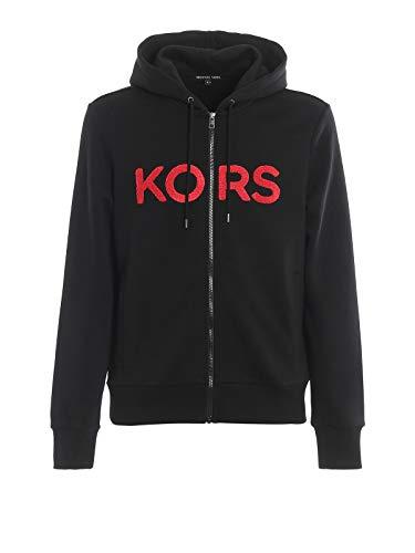 Michael Kors Terry - Sudadera con capucha y cremallera, color negro Negro Negro ( XS