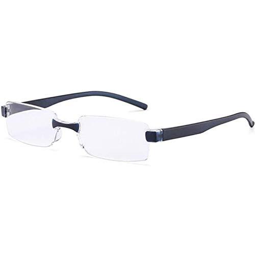 Reading Glasses Gafas de Lectura Anti Luz Azul Gafas Sin Montura con Montura Semi Sin Montura Bisagra de Resorte Unisex Lectores de Computadora de Metal Anti Fatiga Ocular