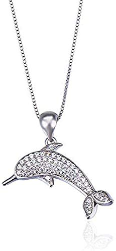 FACAIBA Necklace Woman Man Necklaces S925 Silver Inlaid Zircon Personality Full Diamonds Cute Little Dolphin Pendant Necklace Clavicle Chain Women Gifts