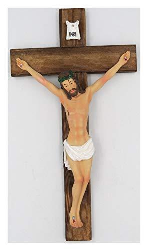 chenran Accesorios 11.8 Pulgadas Católica de Resina Escultura Jesús Cristo en Madera...