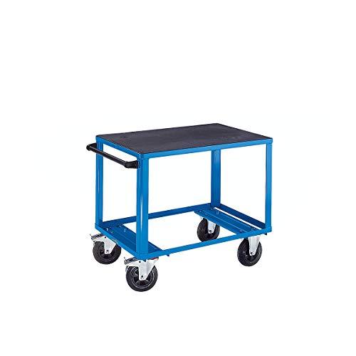 EUROKRAFT ACTIVE GREEN Montagewagen - 1 Ladefläche aus Kunststoff - Ladefläche 1250 x 800 mm, Gestell lichtblau - Bestellwagen Fahrbare Werkbank Fahrbarer Arbeitstisch Werkbank Werkbank\\ fahrbar Werkbänke\\ fahrbar