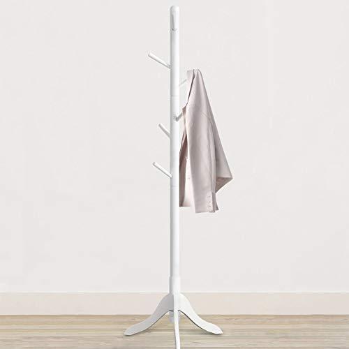 Vlush Free Standing Coat Rack, 8 Hooks Wooden Coat Hat Tree Coat Hanger Holder Enterway Hall Tree with Solid Rubber Wood Base for Coat, Hat, Clothes, Scarves, Handbags, Umbrella-White