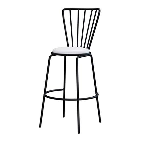 Barkruk voor café, keuken, eetkamerstoel, toonhoogte, kruk, hoge rugleuning en poten van metaal, zwart, wit van kunstleer, gewatteerde zitting, maat: zithoogte: 25,6 inch