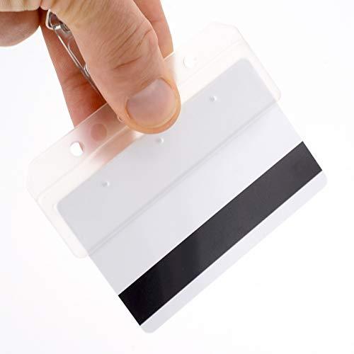 Half card Swipe–Porta accesso di cordini Tomorrow ID badge Grab rigidi orizzontale di plastica dura trasparente satinato MAG Stripe server cameriere bar staff POS terminal ID, CR80carte di credito