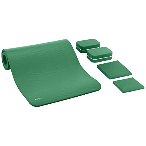 Amazon Basics 1/2-Inch Thick 6-Piece Yoga Set with Mat - Green