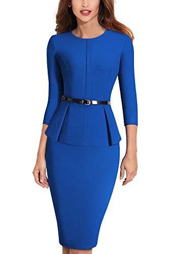 HOMEYEE Negocio Vestido de Mujer Cuello Redondo Peplo Cinturón B473