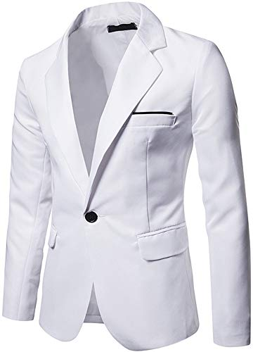 Men's Casual Slim Fit One Button Sport Coats Blazer Jacket, White, US XL = Tag 2XL