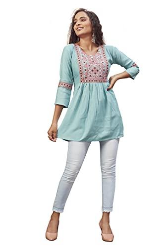 HANI SYNTHETICS Short Kurti for Women  Embroidered Straight Rayon Kurta   Round Neck Full Sleeves Short Kurti   Tunic Tops for Women for Women's Aqua Blue