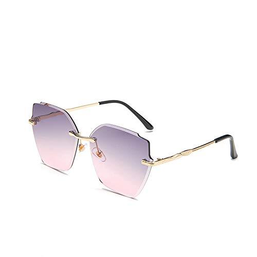 YHKF Gafas De Sol De Ojo De Gato Sin Montura para Mujer, Gafas De Sol Cuadradas De Lujo con Gradiente, Gafas De Moda para Mujer, Sombras De Gran Tamaño-Grey_Pink