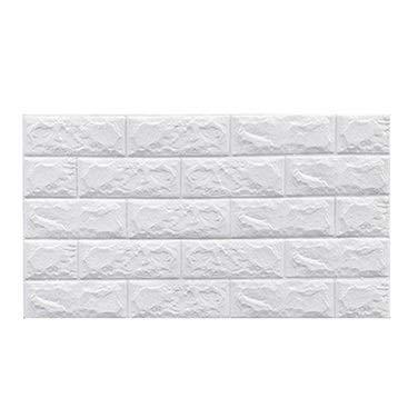 Foam brick wall panels DIY Soft White Tiles Decoration Kitchen Bathroom Rectangle Wall Panels Self-Adhesive 3D Foam Brick Stone Textured Faux Wallpaper Corridor Stairs ( Color : White , Size : 30pcs )