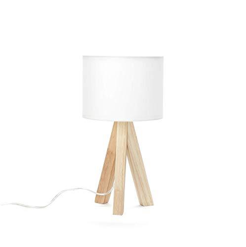 Nachttischleuchte Weiß Stoff Holz Dreibein Tischlampe Schlafzimmer Wohnzimmer