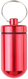 Phoneix 1Pc Aluminum Pill Box Case Medicine Bottle Holder Container Keychain Red