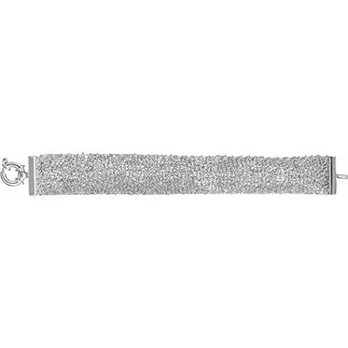Pulsera de plata de ley 925 con anillo de primavera para mujer, 18 cm