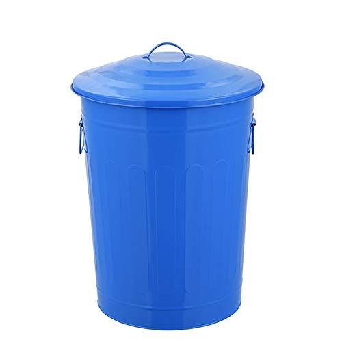 QIAOLI Papelera para exteriores con tapa, redonda de 16,9 galones, caja de reciclaje para pintura, cocina, jardín, 3 colores al aire libre (color azul, tamaño: 16,9 galón)