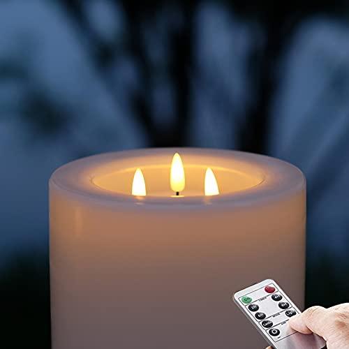 Outdoor 15 cm x 20 cm große wasserdichte LED Kerze(1 Packung), 3-Flammen (warmweiß), Batterie Kunststoff kerze, Fernbedienung und Timer-Funktion, 3-C-Batterien
