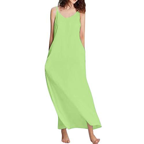 Damen-Normallack-Feiertags-Kleid-reizvoller ärmelloser Schultergurt-Langer Rock-reizvoller Sling beiläufiges Loses langes Kleid Sonojie