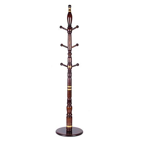 MKVRS Perchero de madera, con 9 ganchos, base redonda estable, para sombreros, bolsos, para pasillo de entrada, para abrigos, abrigos (color: A)