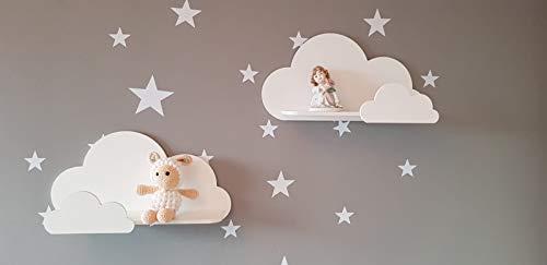 Set di 2 mensole a nuvola bianche decorative per cameretta dei bambini, set regalo Trend Lab Cloud (bianco)