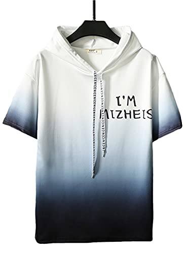[エアバイ] Tシャツ グラデーション パーカー 半袖 プルオーバー トップス フード付き 涼しい 春 夏 XL xl ショートパンツ デザイン フード 体操着 洗濯 通学 ゴム ポケット ユニフォーム ロゴ ろご お洒落 2セット 大きい セクシー 黒白