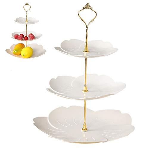 Elehui Alzata Per Torta a 3 Livelli Alzata per Dolci Piatto Per Frutta Supporto Per Dessert Adatto Per Banchetti Nuziali Compleanni Feste