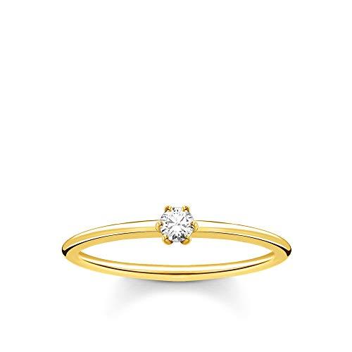 THOMAS SABO Damen Ring weißer Stein Gold 925 Sterlingsilber, 750 Gelbgold Vergoldung TR2312-414-14