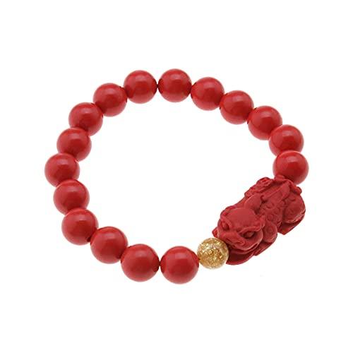 Be In Your Mind Pulsera de cinnabar rojo Feng Shui Pixiu para atraer a la suerte y riqueza...