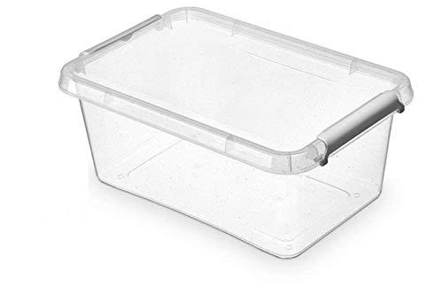 ORPLAST 6 x Nano Box mit Deckel und Clips/antibakterielle Wirkung - 4,5 Liter - 29 x 20 x 12 cm - Klar/Silber/Glitter