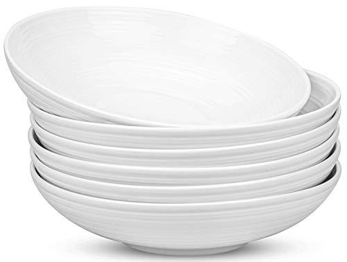 Yesland 6 Pack Porcelain Salad Pasta Bowls, 26 Ounces White and Shallow Soup Bowl Set