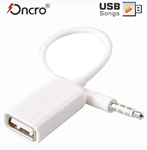 ONCRO® Trending White 3.5mm AUX Audio Plug to USB 2.0 Converter Adapter USB Aux Cable for Car MP3 Speaker U Disk USB Flash Drive Accessories (Not for Headphones or Charging Any Device)