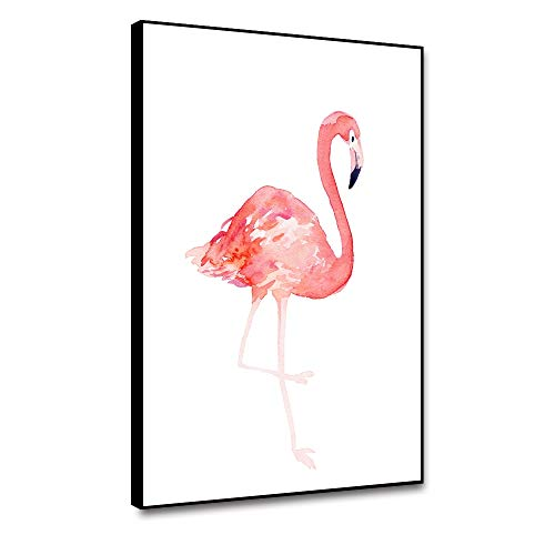 Cassisy 8'x10' Framed Canvas Prints Flamingo Wall Art Animal Canvas Poster Watercolor Pink Flamingo Picture Modern Home Wall Decor Canvas Painting For Living Room Bedroom Decorations