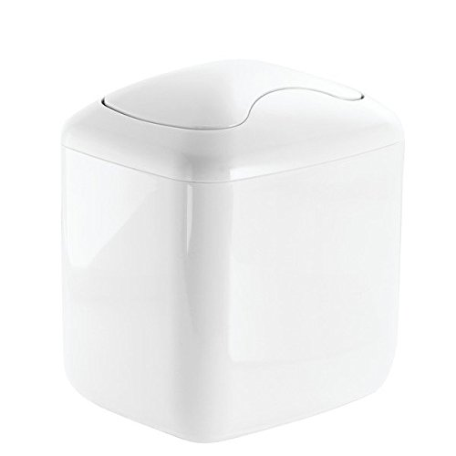 mDesign Modern Plastic Square Mini Wastebasket Trash Can Dispenser with Swing Lid for Nursery Changing Table, Countertop, Tabletop - Dispose of Wipes, Tissues, Cotton Swabs - White