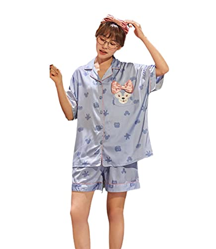 Damaioness Conjunto de pijama de talla grande para verano, ropa de dormir, pijamas de seda de hielo, ropa de hogar casual azul_M