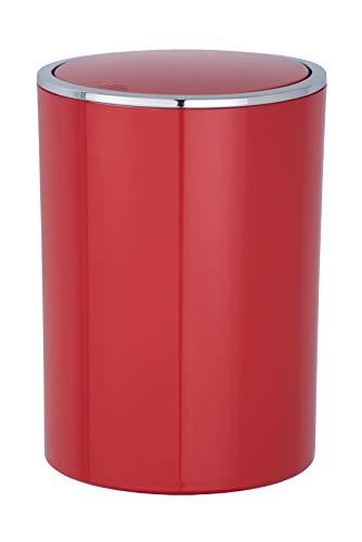 WENKO Schwingdeckeleimer Inca Red - Abfallbehälter mit Schwingdeckel Fassungsvermögen: 5 l, Kunststoff (ABS), 18.5 x 25.5 x 18.5 cm, Rot