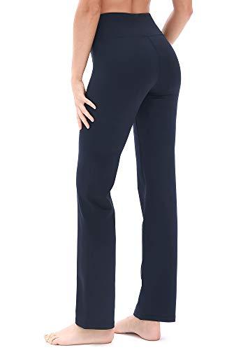 icyzone Damen Bootcut Yogahose Lange Sporthose Hohe Taille Flare Fitness Training Hosen (L, Navy)