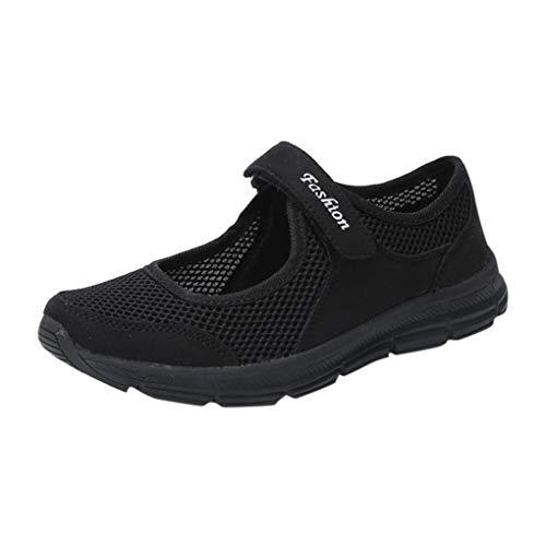 VJGOAL Damen Freizeitschuhe, Damen Mode Soft Anti Slip Klett Sandalen Casual Fitness Laufsport Sommer Falt Schuhe Mutterschaftsschuhe (Schwarz, 36 EU)