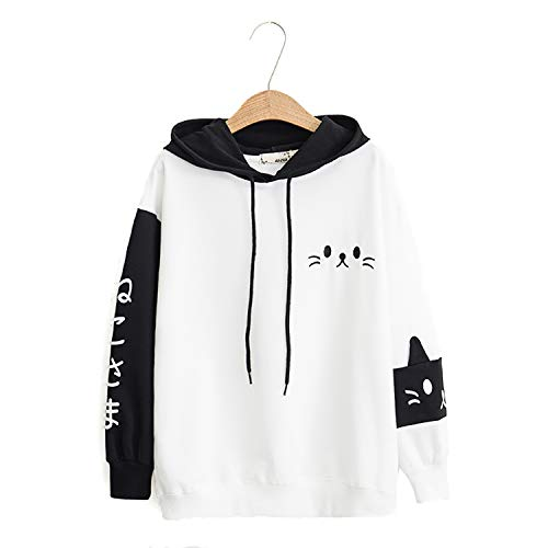 Womens Japanese Kawaii Pullover Hoodie Kitty Cat Sweatershirt Sweater Tops White