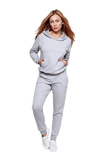Sensis Trendiger Damen Trainingsanzug/Hausanzug/Wellnessanzug/Streetwear-Set mit stylischem Sweatpulli BZW. Sweatjacke und bequemer Hose, Hellgrau lang, Gr. L (40)