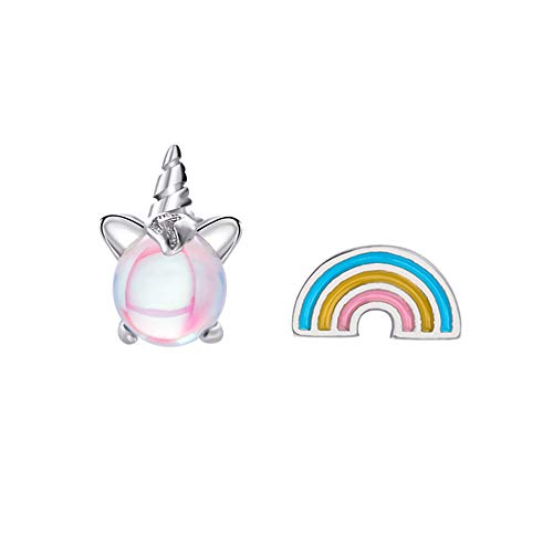unicornio arcoiris Regalos pendiente Aretes de plata Rosa claro Brillante para niñas Niñas Joyas Fiesta de cumpleaños con caja de regalo de terciopelo