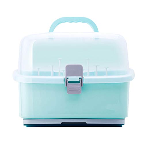 Baby Bottle Drying Rack with AntiDust Cover Portable Nursing Bottle Storage Box Dinnerware Organizer for Home Kitchen Use Green
