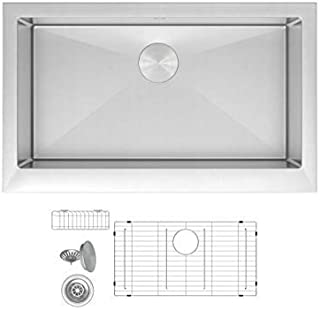 ZUHNE Trento 33 Inch Single Bowl Farm House 16G Stainless Steel Kitchen Sink, Scratch Protector Grid, Caddy and Strainer – Short Straight Apron