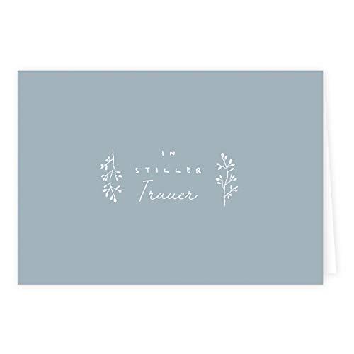 3er Set Trauerkarten In Stiller Trauer mit Umschlägen, einfach, neutral, Beileidskarte, Kundgebung des Trauerfalls, Trauer, Beerdigung, Sterbefall, DIN A6