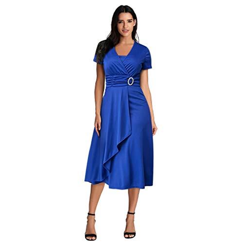 Zegeey Damen Abendkleid Einfarbig V-Ausschnitt Kurzarm Asymmetrischer Saum GroßE GrößEn Rockabilly Brautkleid Brautjungfern Kleid Cocktailkleid Ballkleider Festlich(Blau,42 DE/2XL CN)