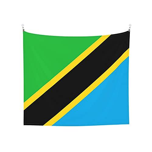 Tapisserie Flagge von Tansania, Wandbehang, Boho, beliebt, mystisch, Trippy Yoga, Hippie, Wandteppiche für Wohnzimmer, Schlafzimmer, Wohnheim, Heimdekoration, schwarz & weiß Stranddecke