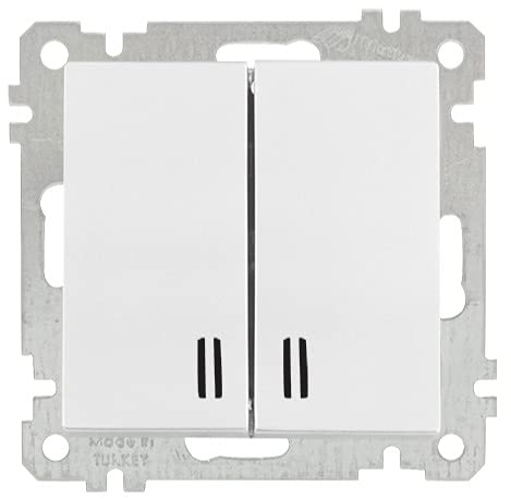 Interruptor doble iluminado blanco · Interruptor de la serie Candela · Interruptor doble