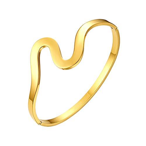 Flongo Damenarmband Edelstahlarmband Damen Armband Frauen Armreif BFF Ketten mit Welle Design Gold Golden Elegant für Frauen