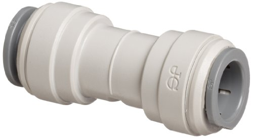 """John Guest Acetal Copolymer Tube Fitting, Union Straight Connector, 1/4"""" Tube OD (Pack of 10)"""